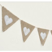 flags and banners - Hessian Triangle Flag Heart Design Baby Shower Rustic Wedding Decorations event party Supplies Burlap Pennant Banner
