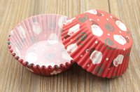 Wholesale Merry Christmas colorful high temperature baking greaseproof paper cup muffin cupcakes cup wrappers pc Christmas decorations