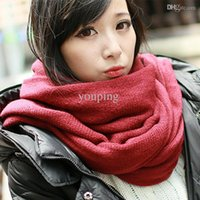 Cheap Wholesale-Hot Sale! Unisex Pure Color Flat Winter Scarf Women Fashion Yarn Cashmere Scarf Men Ultra Long Shawl Muffler Free Shipping