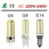 Wholesale TOP G4 G9 E14 LED Lamp Bulb W W W SMD DC V AC V Silicone Crystal Bulb Spotlight replace W W Halogen Light