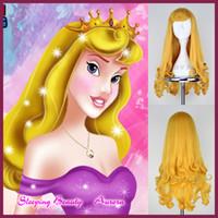 beauty net - 28 quot cm Sleeping Beauty Princess Aurora Wig Long Curly Golden Anime Cosplay Wig Wigs Free wig net