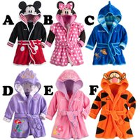 Wholesale Children s Pajamas Baby Boys Girls Cartoon Bathrobe Kids Hooded Bath Towel Robes Infant Toddler Bathing Suits Mickey Minnie Mouse Bathrobes