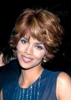 Ombre Color Curly Indian hair Halle Berry Boutique Fascinating Two-Tone Look Short Wavy 100% Real Human Hair Wig About 8 Inches