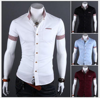 Wholesale 2015 Fashion Summer mens shirts Slim solid color mens casual Short sleeve shirt M XXL