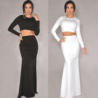 Wholesale 2014 Sexy Women Fashion Black White Mermaid Maxi Long Skirts Long Sleeves Bodycon Crop Top and Pencil Skirt Set