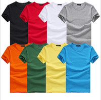 Crew Neck t-shirt wholesale - Men round neck T Shirt Short Sleeve Tee Solid color Plus size T Shirts Retail tees polos shirts S M L XXL XXXL