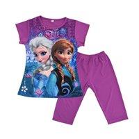 venda por atacado pyjama-Pijamas Roupa Kids Clothing CK001 da menina Crianças Elsa Anna Princesa Bebés Meninas Pijamas Set menina da neve Rainha Nightgown Curto