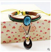 wholesale hematite jewelry - hot selling alloy Hematite beaded bracelet Korean Fashion jewelry supply leather Religion Totem women men