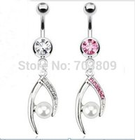 belly bars dangle - wholesales mix color body piercing jewelry crystal Pearl dangle belly button ring navel bar
