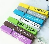 antique week - Deal Lovely Wooden Week Clip Set Cute Memo Clip Week photo clip sets