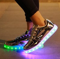 Wholesale Led shoes men USB Charging LED Shoes Unisex symbols colors Sneakers Luminous lights Glowing Sneakers shoes gold silver shiny mirror lights