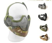 La mitad de los malla de red tácticas de acero de metal protege la máscara protectora para Paintball CS Wargame Multicamara la caza del airsoft