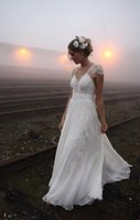 Cheap 2015 Boho Backless Lace Wedding Dresses V-Neck Cap Sleeve A-Line White Chiffon Lace Floor-length Beach Bridal Gowns Custom Made