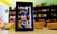 colored sand - Romantic Sandglass Hourglass Black White Frame Colored Glass Sand Minutes Wooden Sand Timer