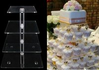 Wholesale 4 Tier Acrylic Square Cupcake Stands Crystal Clear for Wedding Birthday Event Party Cake Display Decoration Product Supply CAT FX