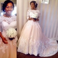 beach borders - 2015 Glamorous lace border appliques A line wedding dresses with crew neckline long sleeves court train formal Bridal gowns