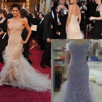 berry prom dress - Custom Made Scalloped Off The Shoulder Strapless Tulle Mermaid Beading Crystals Floor Length Halle Berry Prom Dresses
