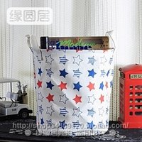 Wholesale Zakka groceries yellow linen storage baskets Storage basket star wave pattern frontier Home Clearance Special