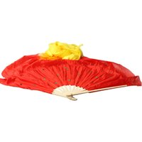 belly dance shop - Color Gradient Flame Dancing Silk Fan Belly Veil for Party Stage Performance BS8 B2C Shop