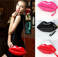 bags big - 2016 New popular big lips pattern women bag handbags clutch chain shouder bag evening bolsas red pu leather bags for women handbag