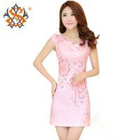 Wholesale Summer Peony embroidery Cheongsam Chinese traditional dress Qipao dress
