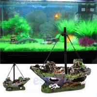 Wholesale Wreck Sunk Ship Aquarium Ornament Sailing Boat Destroyer Fish Tank Cave Decor