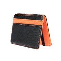 Wholesale New Korean Fashion Men Magic Wallet PU Cheap Wallets Magic Bag Male Pocket Purse Card Holders Money Clip for Men Orange Green
