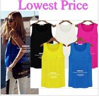 Cheap Plus Size Women Blusas Femininas 2014 Chiffon Vest Blouses Pocket Summer Vest Blusa De Renda Woman's Tops Cheap Clothes Camisa