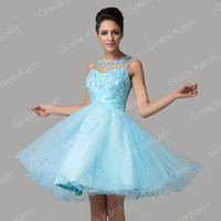 Wholesale New Popular Design Short Sheer Prom Dresses Crew Neck Appliques Tulle Ball Gown Cocktail Party Dress Turquoise CL6151