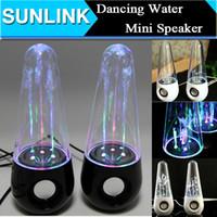 2 Universal MP3 Speaker Dancing Water mini computer Speaker Active Portable Mini USB LED Light Speakers Sound Box For iphone ipad PC MP3 MP4 PSP DHL Free shipping