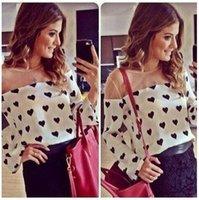 Cheap 2014 women fashion blouse casual heart print women tops full sleeve chiffon women blouse Blusas