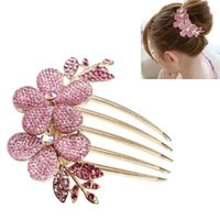 Wholesale IMC Charm Fashion Lady Girl Flower Pattern Alloy Rhinestone Barrette Hair Clip Comb order lt no track
