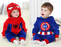 america bodysuit - Retail Spiderman Captain America boys rompers spring and autumn baby boy clothes infant bodysuit one piece newborn clothing HX