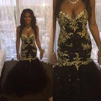Wholesale Charming Black Mermaid Prom Dresses Gold Appliques Long Sweetheart Neck Lace up Tulle Crystals Evening Party Gown BA2218 mz