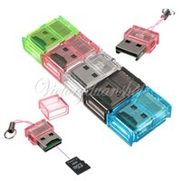 Wholesale New Mini T Flash TF Micro SD Memory Card Reader USB For PC Laptop Colors
