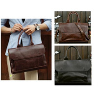 Uomini PU Leather Messenger Bags borsa vintage Business Briefcase Laptop