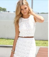 Wholesale 2015 new arrival popular White lace dress women summer dress sleeveless sexy cute casual dresses women s hot lace dress