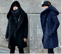 Wholesale Winter Mens Long Woolen Trench Coat Male Hooded Jacket Coat Korean Style For Men Warm Dress Overcoat Plus Size