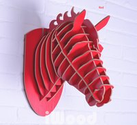 Wholesale wood Horse wall decoration crafts horse animals head home decoration novelty items DIY craft carved wall art horse wood carving