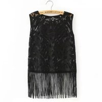 Cheap Summer style lace tank tops hollow out fringe sexy blusa de renda sleeve fashion tassel solid camisetas y tops 2015 women top