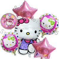 Wholesale 6pcs Mix Hello Kitty Balloons Cartoon Globos Pink Star Aluminium Foil Balloon Happy Birthday Decoration Baloes Balao Baloon