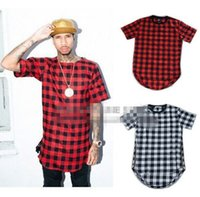 Wholesale Hip hop tyga mens red Tartan plaid shirts Long sleeve side gold zipper man extended casual bule Lattice shirt free shiping