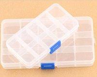 Wholesale 10 Detachable Clear Plastic Divided Storage Box Rhinestone Nail Art Tips Storage box