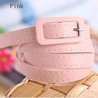 Wholesale New Popular Ajustable Women s Candy Colors Thin Skinny Waistband Belt PU Leather