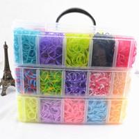 Cheap 30 color Rainbow loom bands kit clear plastic box for Kids DIY bracelets 1set=12000PCS Bands+10PC Hook +240 PCS S C-clip+4pcs Loom Y362