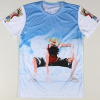 Wholesale Low Priced Men Tees - w20151222 Free Shipping Cartoon 3D One Piece Luffy T-shirts Fashion Tokyo Ghoul Print T Shirts Men New Summer Low Price Top Tees Clothing