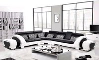 genuine leather sofa - Large L Shaped Genuine Leather Hard Wood Frame Corner leather sofa Classic Black White modern Sofas L8065