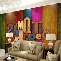 custom photo wallpaper cafe ktv large mural art wall paper european british style 3d wooden personality letters retro wallpaper