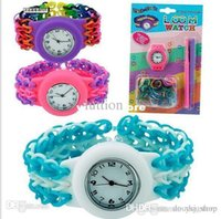 Wholesale 2014 New Multicolor round Watch Kit Loom Rubber Bands with Hooks S Clips diy loom bands watch and bracelet bangle watches