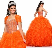 Wholesale 2015 Crystal Quinceanera Dresses Orange Ball Gown Sweetheart Cascading Ruffles Dress for Quinceanera with Jacket Prom Evening Gown Dresses
